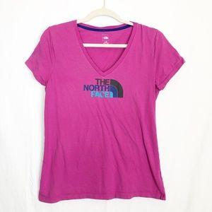 Dark Pink The North Face Logo V Neck Size Large